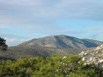 Οι πλαγιές του Ολύμπου και στο βάθος το Πάνειο όρος, όπως φαίνονται από τον δασώδη λόφο τής Σαρωνίδας