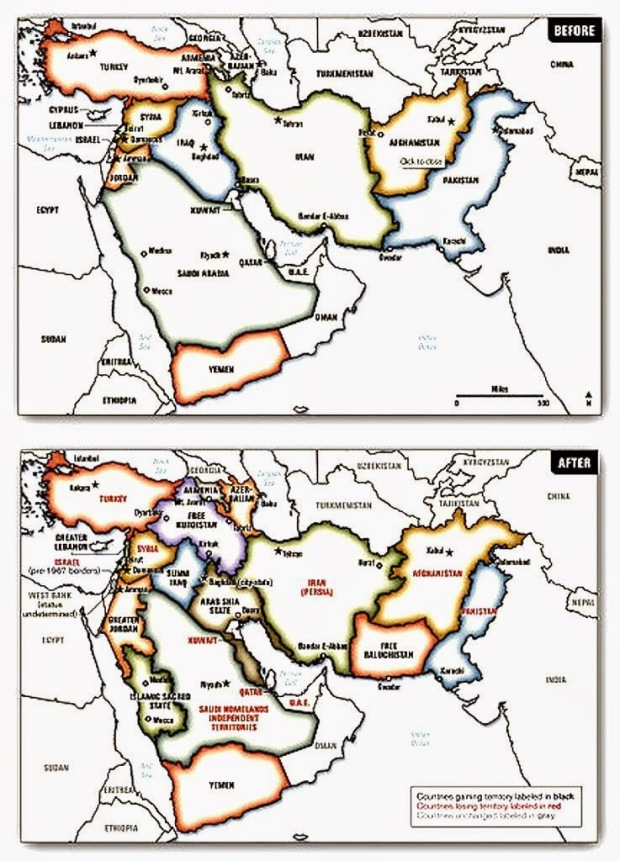 Ο Χάρτης «της Ευρύτερης Μέσης Ανατολής» (Greater Middle East), σύμφωνα με το αμερικανικό Γενικό Επιτελείο που δημοσιεύθηκε το 2006 από τον Συνταγματάρχη Ralph Peters.